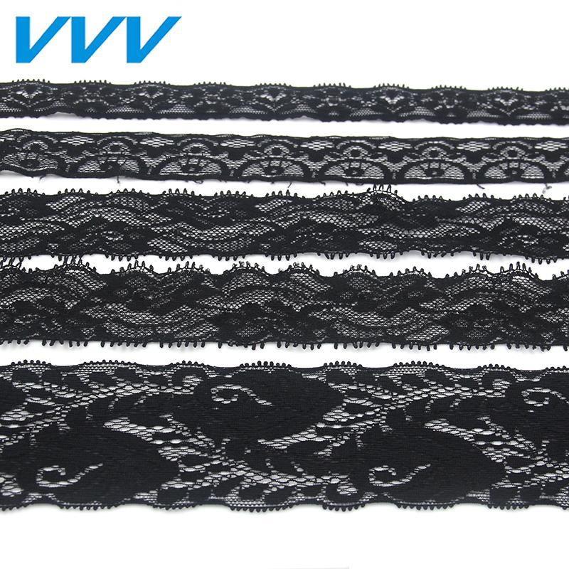服装辅料衣服花边黑白弹力蕾丝花边装饰饰品diy手工材料织带