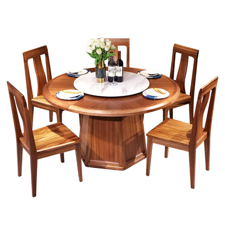 Dafu Family Wood Dining Table And Chair Combination Modern And Simple One Table Six Chairs And
