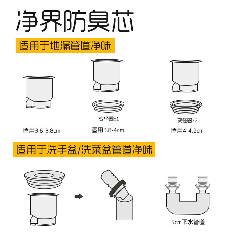 卫生间下水道地漏防臭器地漏芯防臭内芯盖器硅胶厕所防虫反味神器