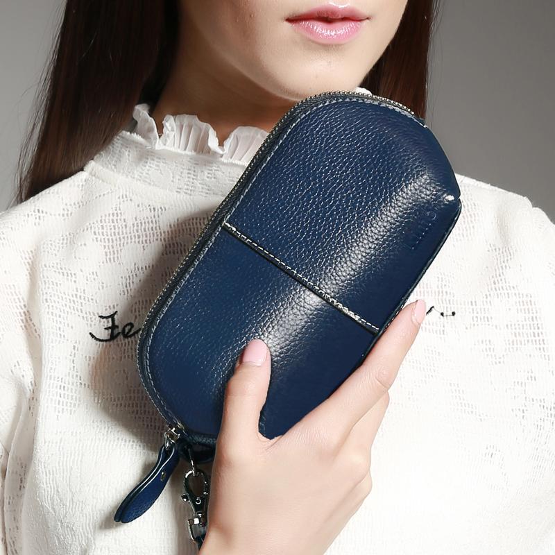 KIMO女士錢包 新款歐美牛皮簡約時尚化妝包零錢包拉鍊真皮手拿包