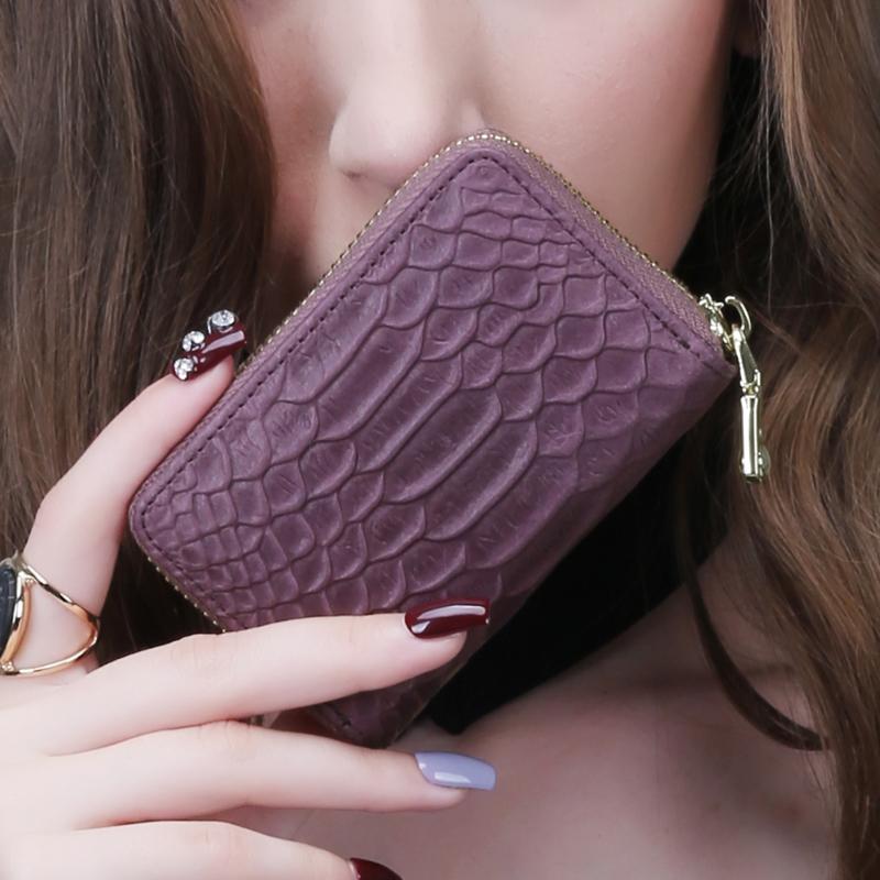 KIMO新款女式卡包 歐美真皮鱷魚紋牛皮多卡位小卡包名片夾卡夾女