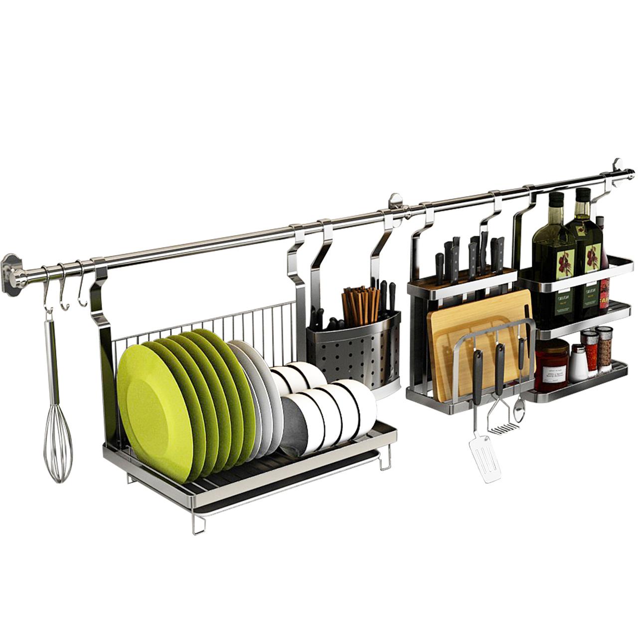 304不锈钢厨房置物架壁挂式挂件挂架子挂杆挂墙不锈钢挂钩收纳架