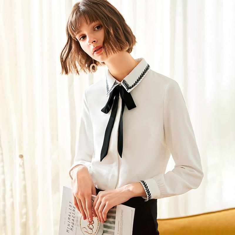 雪纺衬衫女长袖设计感小众2019初秋新款洋气轻熟风上衣蝴蝶结衬衣