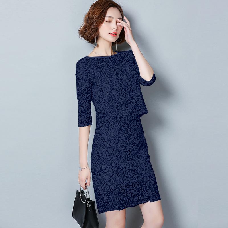 2019夏季新款女装连衣裙上衣+半身裙套装春秋蕾丝两件套时尚名媛