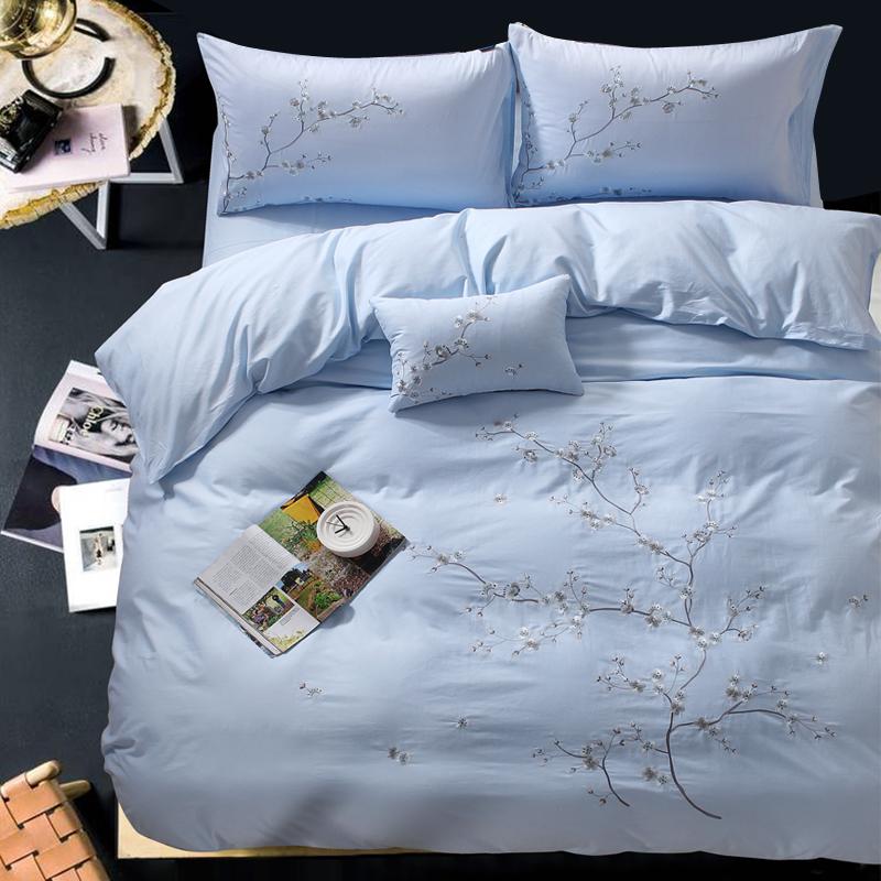 新中式被套床单四件套纯棉全棉中国风刺绣花梅花简约家纺床上用品