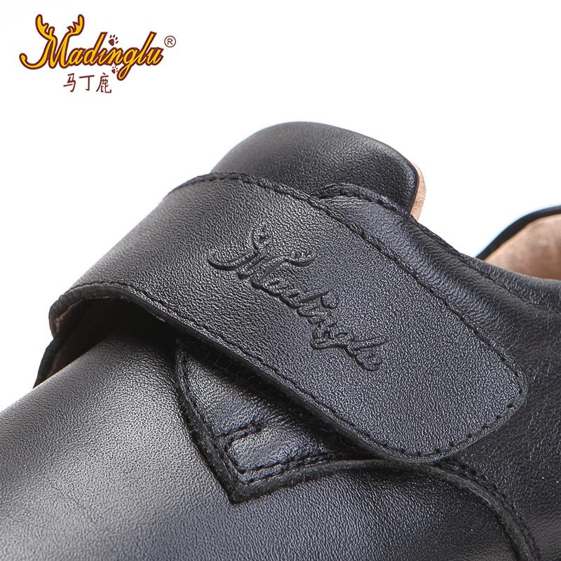 马丁鹿男童皮鞋黑色2018新款夏季英伦演出鞋儿童真皮软底儿童鞋子