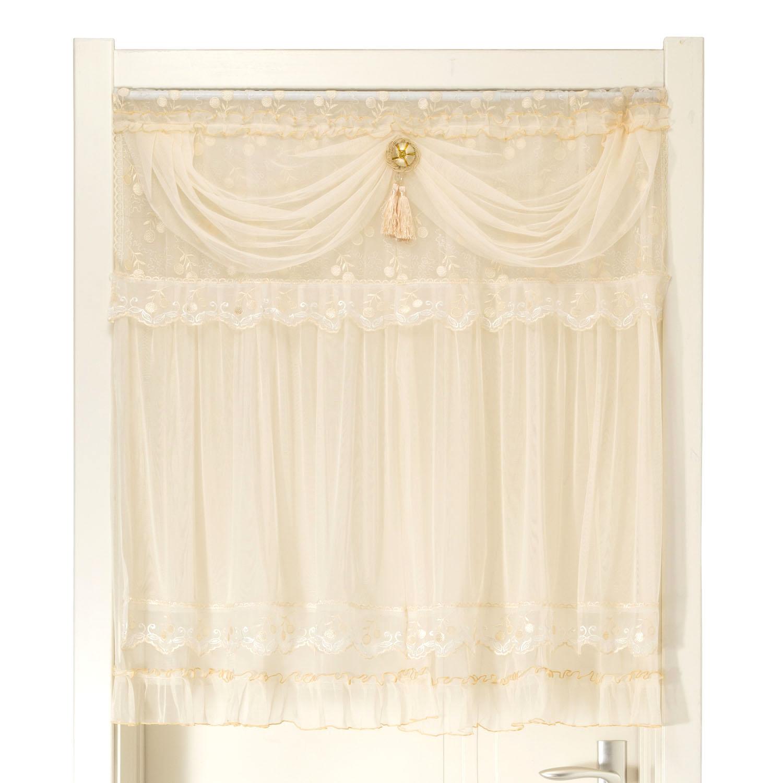 送杆+绑花 门帘挂帘隔断风水帘卫生间卧室装饰帘田园布艺窗帘订制