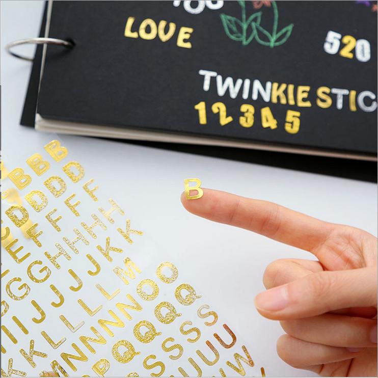 金银数字字母烫金贴纸 爆炸礼物盒手工制作材料diy相册装饰贴画