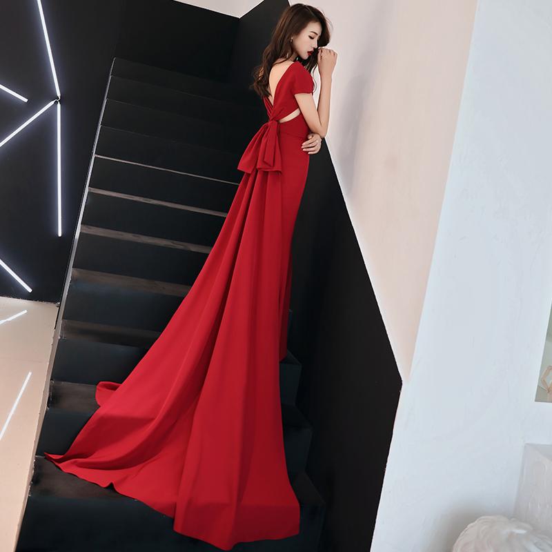 新娘敬酒服2019新款夏秋高贵性感拖尾修身红色长款宴会晚礼服裙女