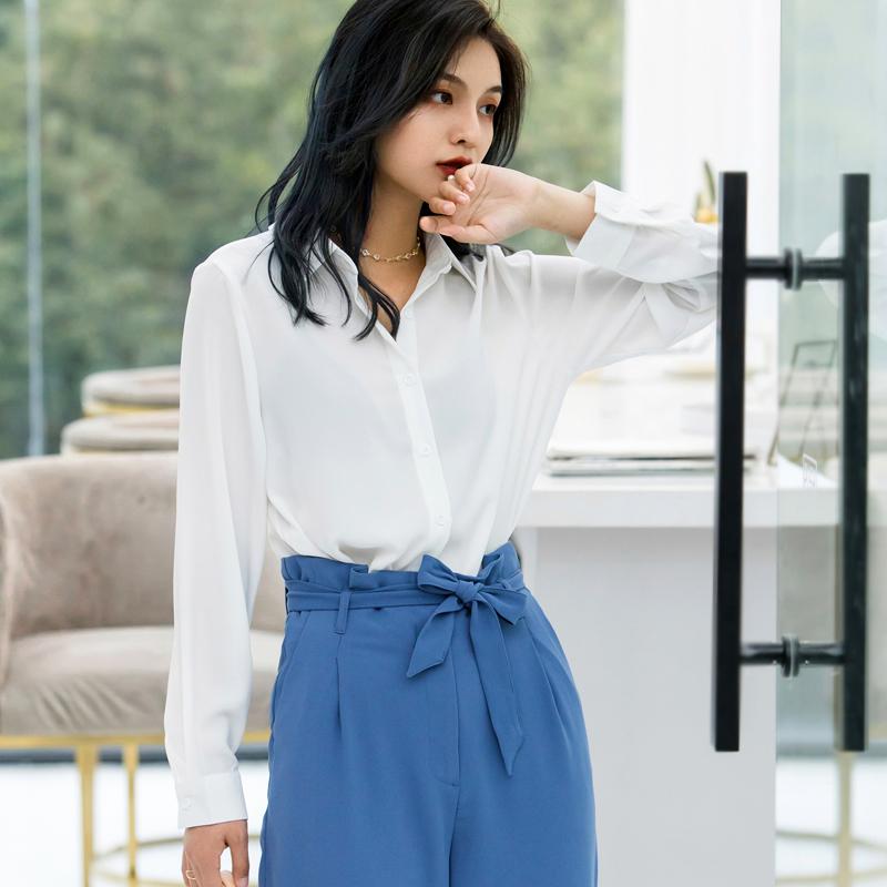 春装2019款气质上衣长短袖雪纺衬衫女韩版休闲显瘦白色衬衣打底衫
