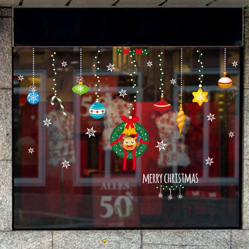 圣诞节店铺橱窗玻璃贴纸墙贴场景布置圣诞树老人装饰用品自粘贴画