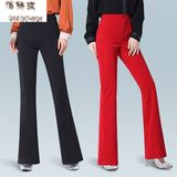 Big red casual pants ladies spring and autumn new micro-flare pants ladies large size stretch fishtail pants high waist long pants
