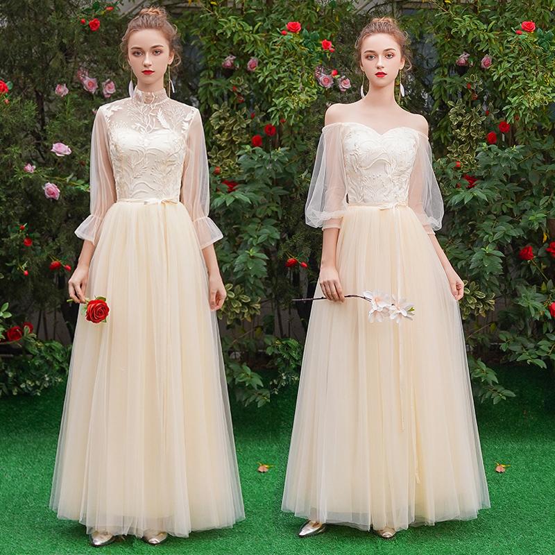伴娘服2019新款夏季香槟色婚礼姐妹团礼服显瘦仙气质毕业礼服裙女