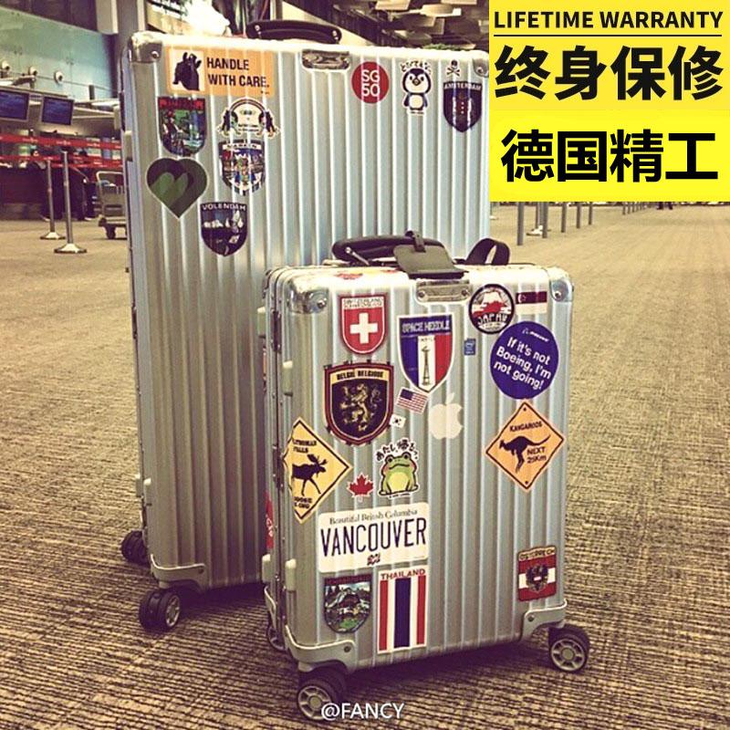 明星同款鋁合金框拉桿箱萬向輪女男20行李箱24寸旅行箱28硬登機箱