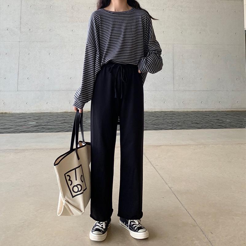 灰色运动裤女宽松直筒春秋阔腿高腰垂感2020新款显瘦百搭休闲薄款