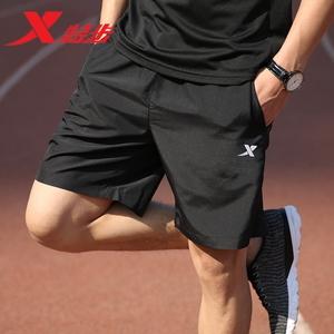 特步运动裤短裤男潮薄款速干跑步裤子健身训练男士宽松篮球五分裤