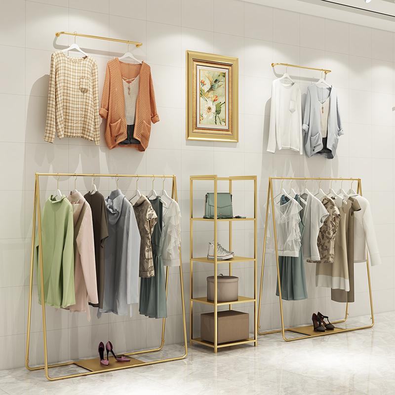 服装店展示架高档金色女装店铺货架落地式挂衣架童装上墙衣服架子