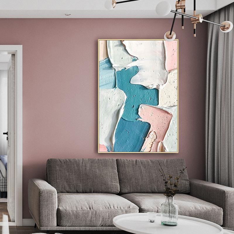 手繪抽象厚肌理油畫現代簡約客廳粉色色塊裝飾畫玄關走廊餐廳壁畫
