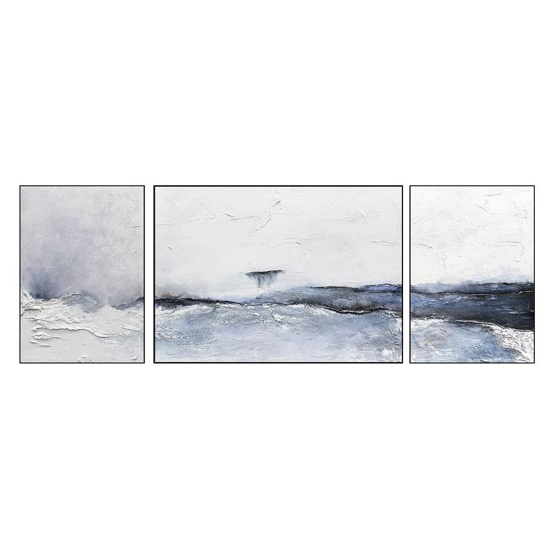 手绘油画现代简约客厅背景墙抽象三联组合装饰画极简艺术挂画壁画