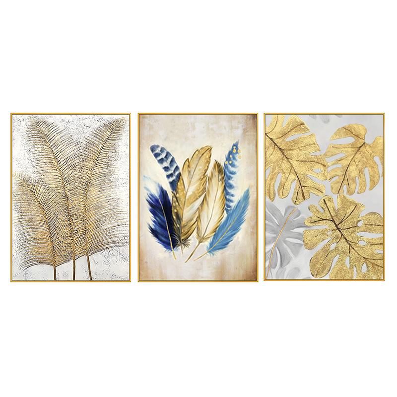 手繪抽象油畫客廳玄關現代簡約金色羽毛美式北歐三聯大幅面裝飾畫