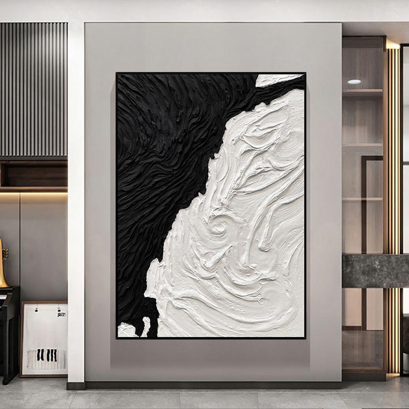 手繪油畫現代極簡抽象黑白立體肌理裝飾畫簡約客廳玄關大幅面掛畫
