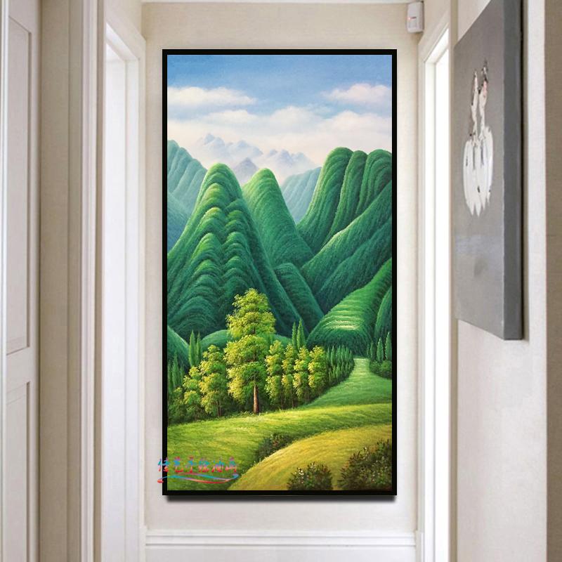 純手繪豎版巨人山裝飾畫綠樹山林風景油畫玄關走廊餐廳掛畫促銷