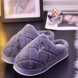 Female thick cotton slippers warm indoor home cartoon couple slip half a pack with plush slippers month of winter shoes