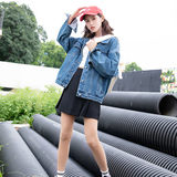 Denim jacket female spring and autumn students Korean version of bf loose 2019 early autumn new net red wild jacket loaded tide ins