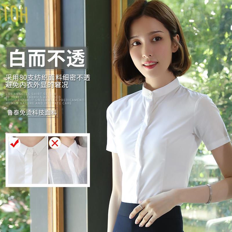 立领白色衬衫女短袖职业夏季新款韩范半袖学生工装衬衣修身工作服主图