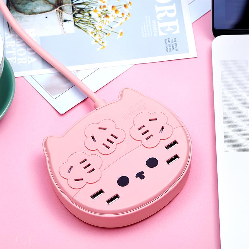 萌猫USB智能插座创意排插多孔插排家用插线板可爱Kitty猫接线板多功能拖线板魔方电源插板充电转换器