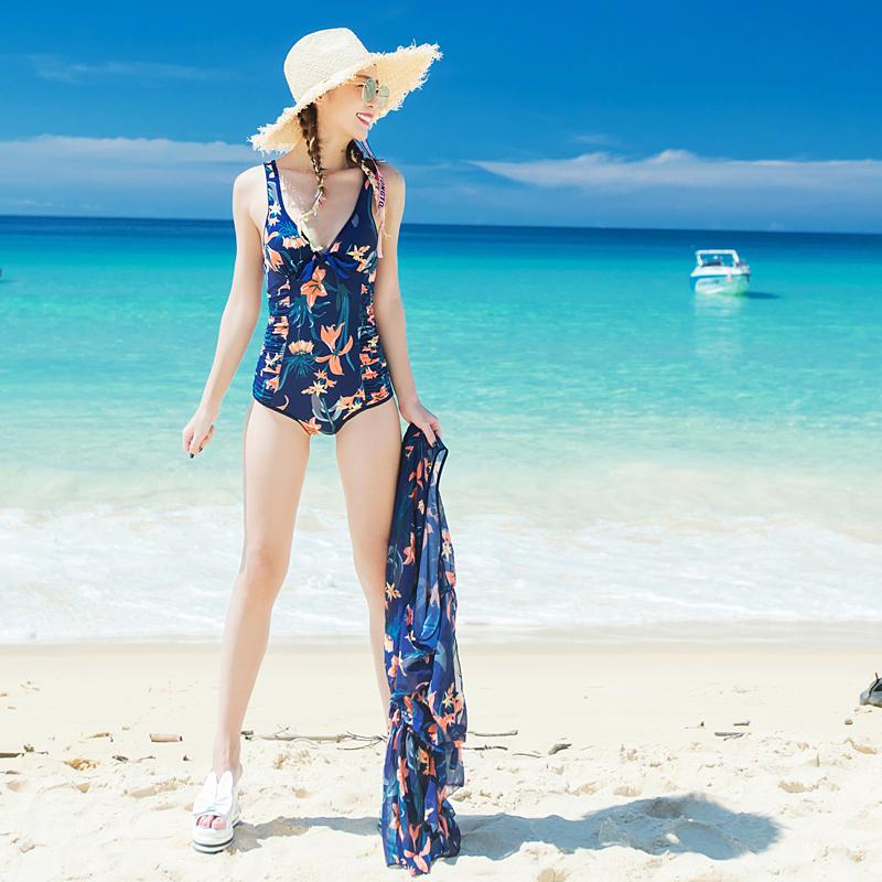 新款保守罩衫裤裙两件套显瘦遮肚泳装大小胸钢托聚拢温泉女游泳衣