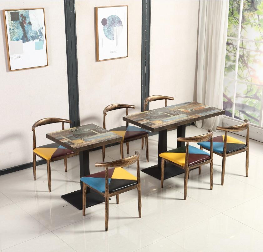 木牛角椅咖啡餐椅组合