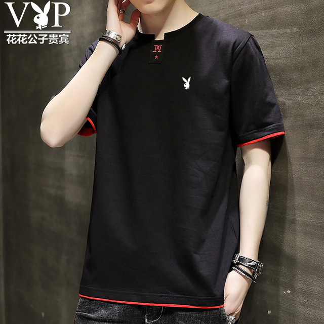 Playboy VIP cotton short-sleeved t-shirt tide male summer cotton short-sleeve white shirt loose summer