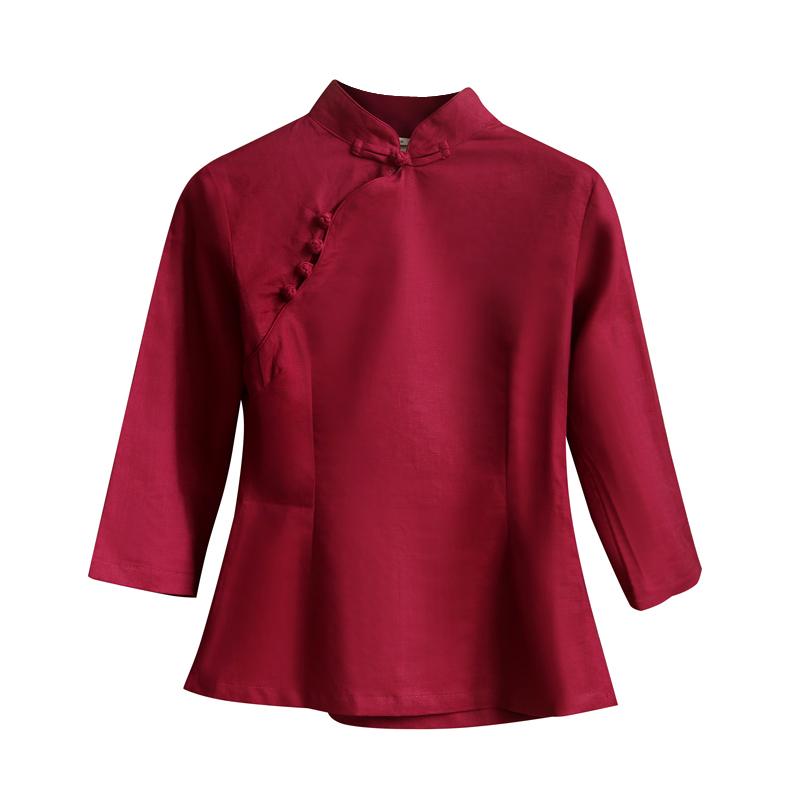 春新款棉麻旗袍上衣改良时尚茶人服复古盘扣中式女装修身显瘦短款