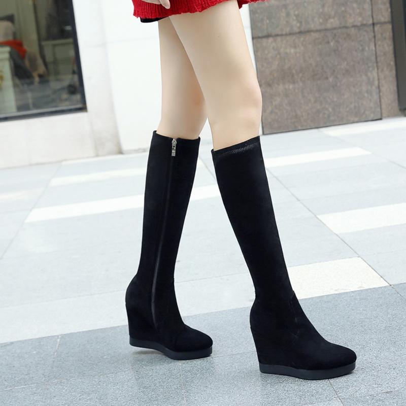 真皮磨砂厚底坡跟高筒靴高跟防水台瘦腿弹力靴单靴2020秋冬女靴子