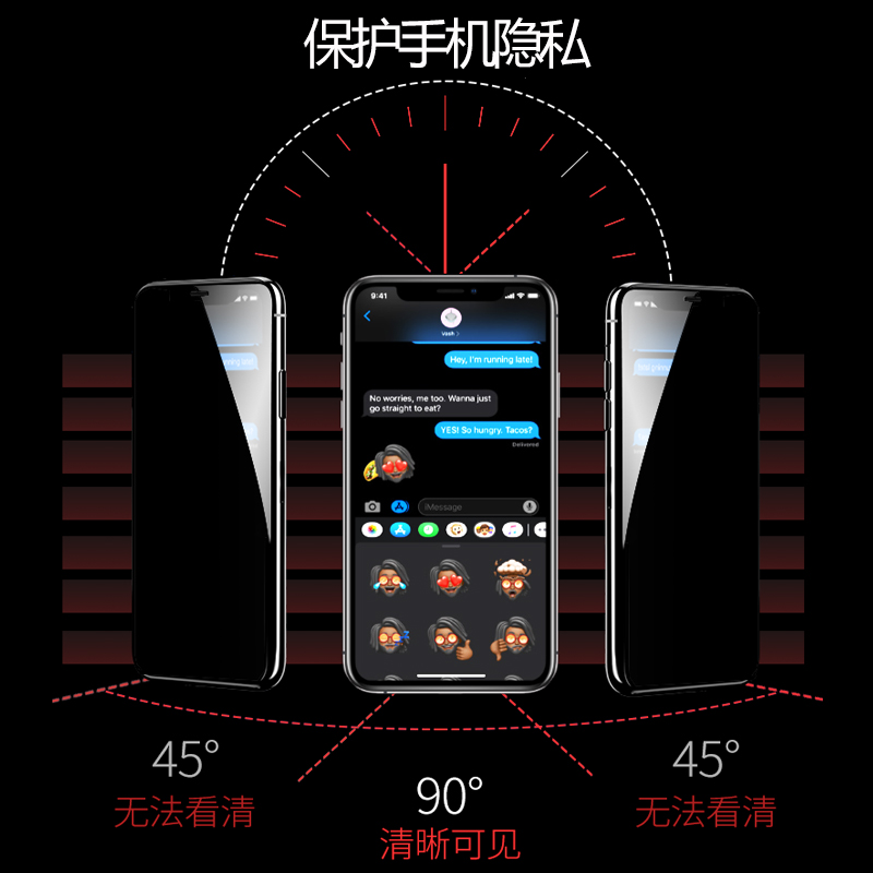 iphone12防窥钢化膜11pro苹果x防偷窥xr防偷瞄xs偷窥max隐私promax全屏7/8plus覆盖7P防偷窃8P手机膜6S/SE2 - 图0