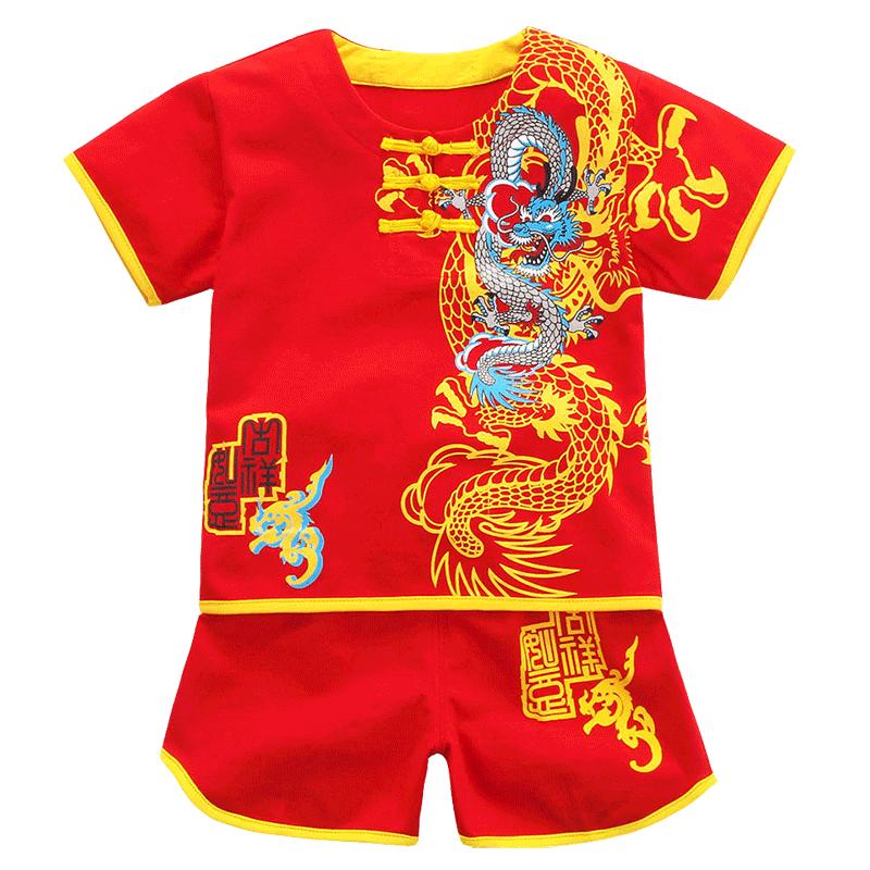 男宝宝夏装纯棉男童唐装套装婴儿百天礼服周岁套装1岁生日2岁3岁