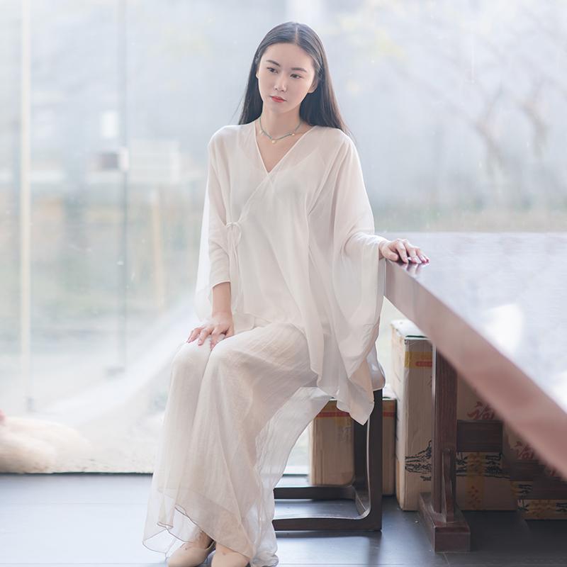 嘉沛妮中式茶禅服人棉蝙蝠袖广袖防晒外衫度假衬衫上衣ZX50