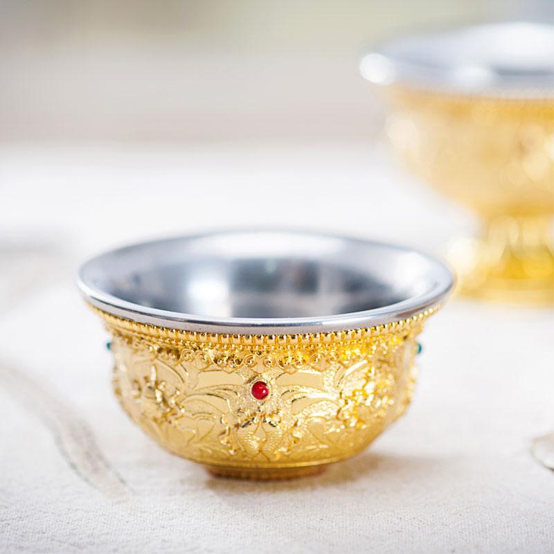 藏式鎏金八吉祥供水杯高脚杯 不锈钢内胆 佛教八供杯圣水杯八供碗