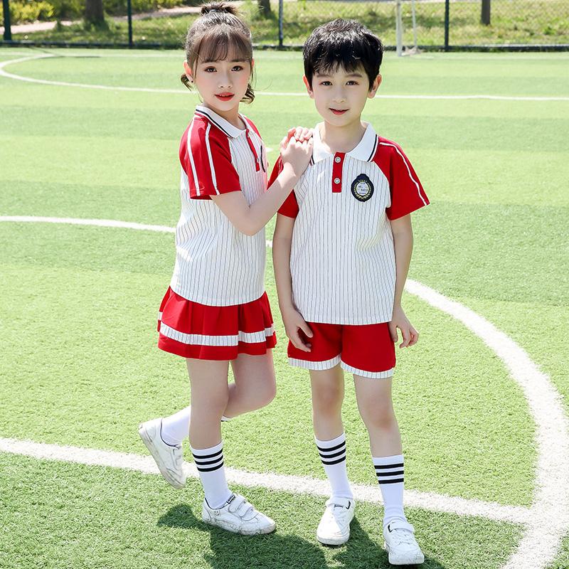 小学生校服套装幼儿园园服夏装儿童班服夏季短袖学院风红色毕业装