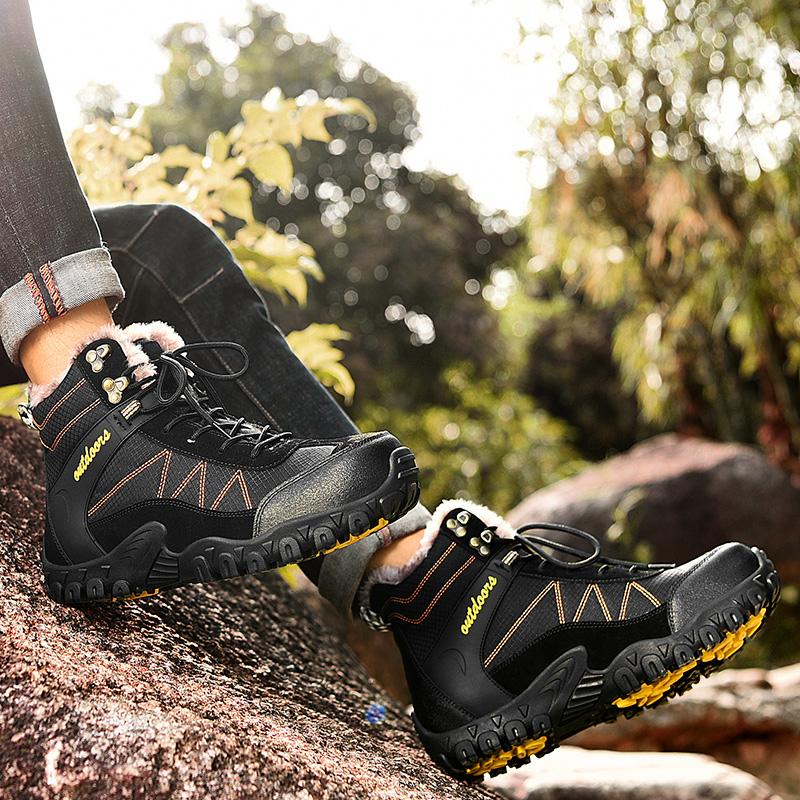 雪地靴男冬季加绒加厚保暖鞋子东北户外大棉鞋男士防水防滑马丁靴