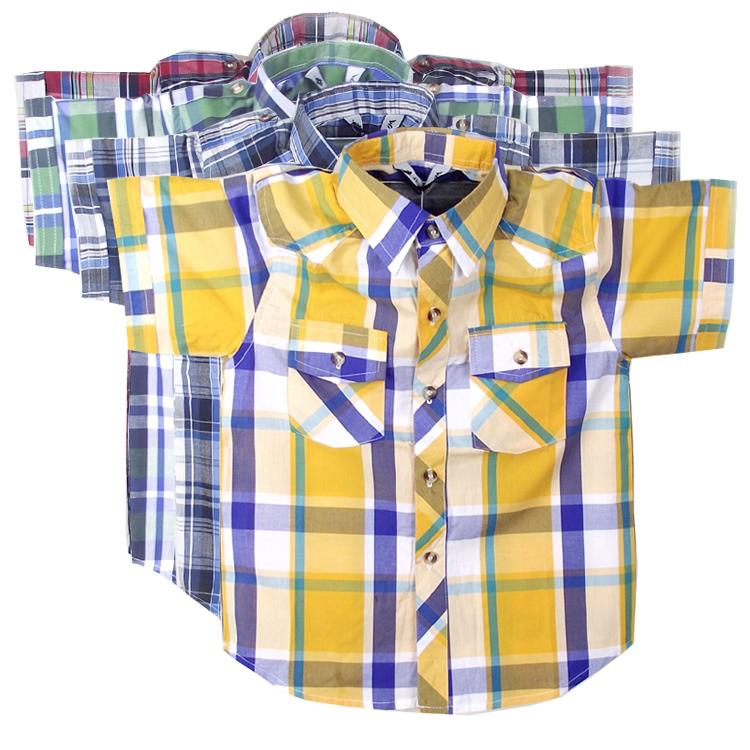 男童襯衫 兒童襯衣男 男童短袖襯衫純棉 兒童格子襯衫 寶寶襯衫男