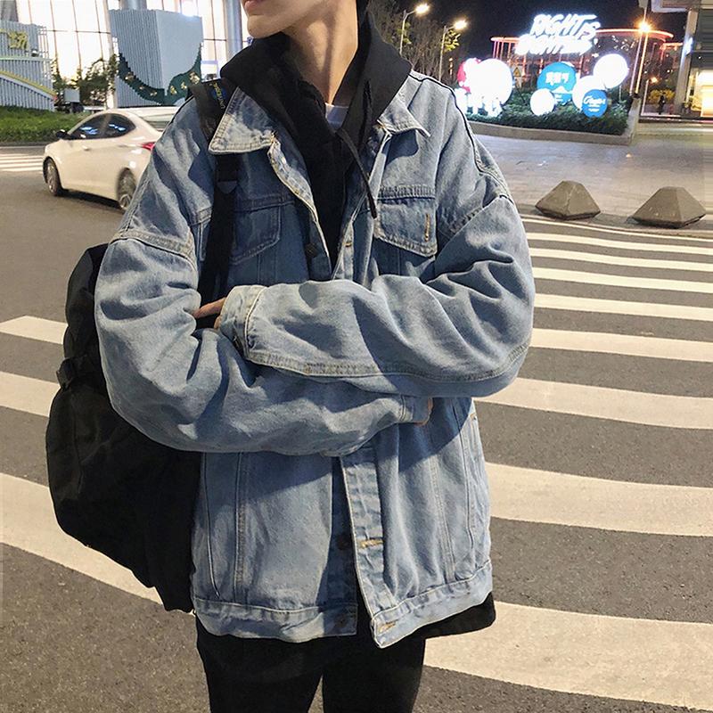 秋冬男士牛仔夹克韩版潮流工装青少年港风宽松 上衣休闲百搭外套  bf