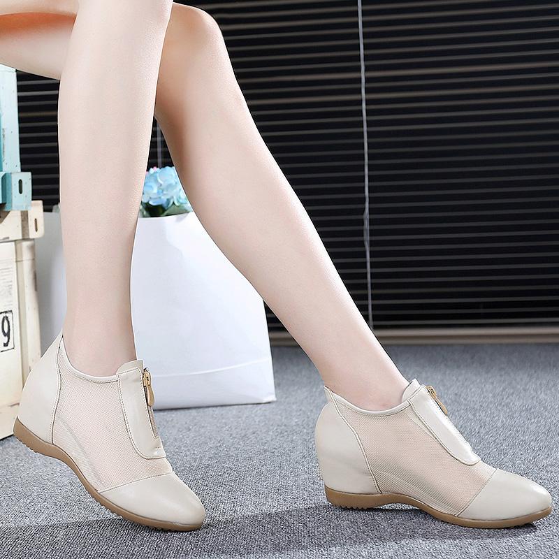 2019春秋女鞋真皮休閒短靴內增高鏤空女單靴坡跟圓頭網靴高幫鞋
