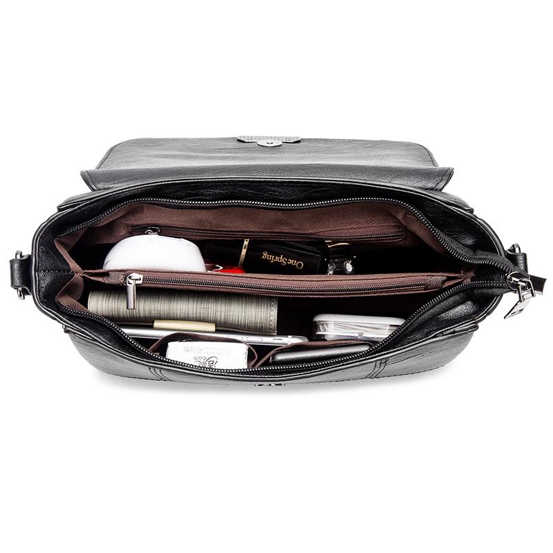 新款软皮包包女士简约大容量单肩包斜挎包小包 2019 中年女包妈妈包