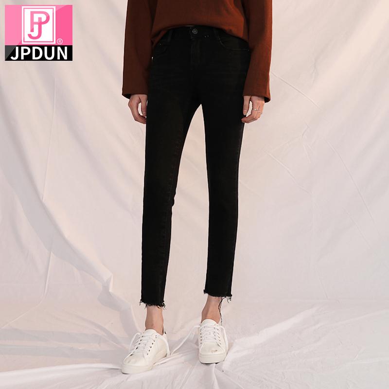 吉普盾秋季牛仔裤高腰九分裤2021新款弹力显瘦紧身铅笔小脚长裤子