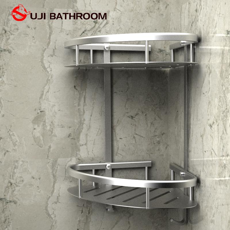 欧吉卫浴加厚卫生间双层三角架厨房浴室置物架角架太空铝三角篮