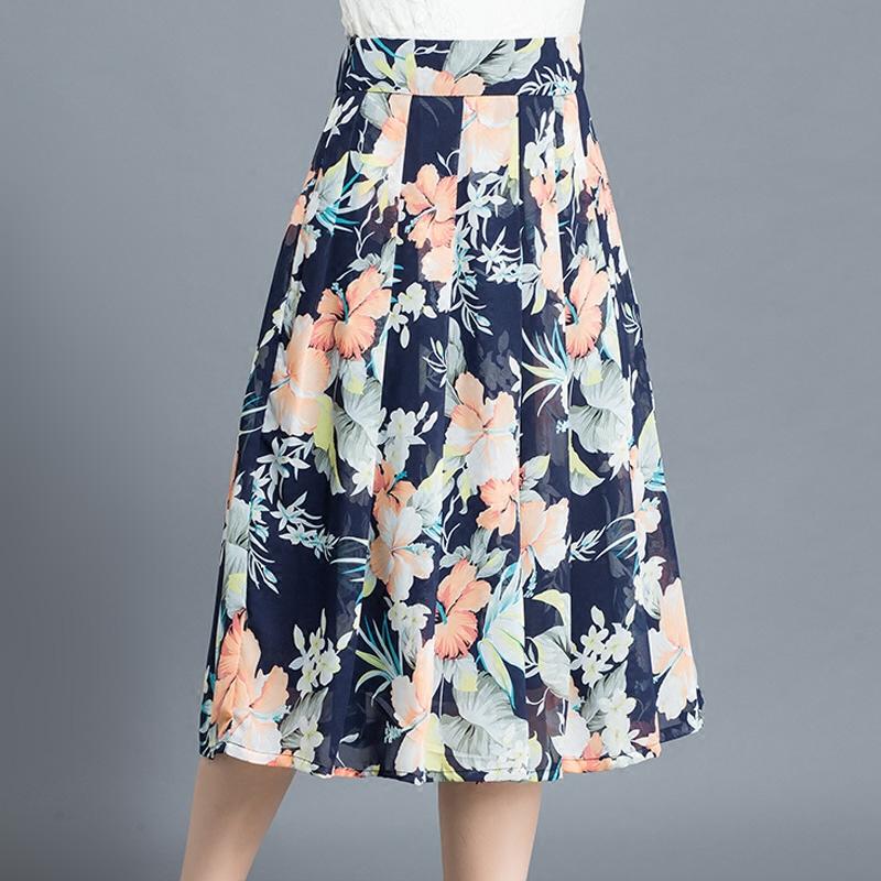 半身裙夏季雪纺中长款碎花百褶裙高腰修身百搭韩版半裙显瘦A字裙