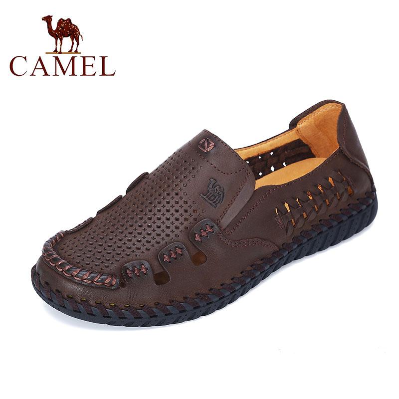 Camel/骆驼正品男鞋 19夏季新款牛皮透气凉鞋 真皮舒适打孔沙滩鞋
