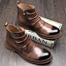 秋季切尔西靴男英伦高帮皮鞋韩版马丁靴男士短靴中帮牛皮靴子男潮